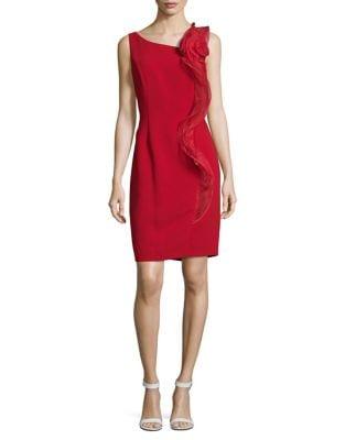 Mesh Ruffle Knee-Length Dress by Karl Lagerfeld Paris