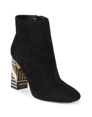 Brynta2 Motif Block Heel Suede Boots by Vince Camuto