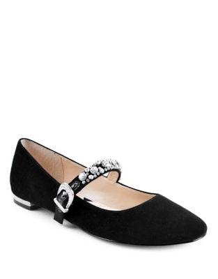 Aronni Mary Jane Suede Flats by Adrienne Vittadini