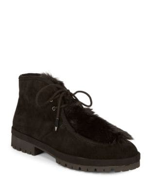 Demitoo Faux Fur-Trimmed Microsuede Booties by Avec Les Filles
