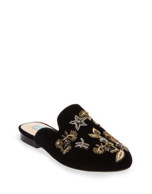 Eden Embroidered Velvet Mules by Betsey Johnson