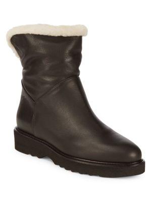 Kimberly Sheep Fur-Trim Leather Booties by Aquatalia