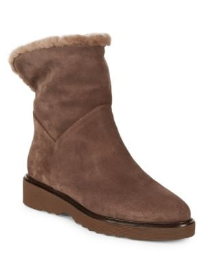 Kimberly Sheep Fur-Trim Suede Booties by Aquatalia