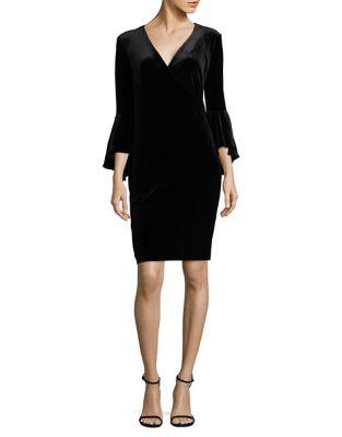 Velvet Bell-Sleeve Wrap Dress by Calvin Klein