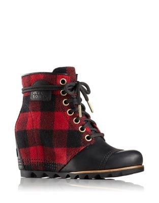 PDX Plaid and Leather Wedge Booties by Sorel
