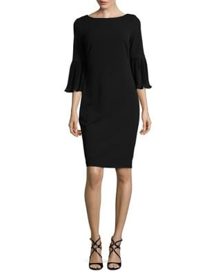 Three-Quarter Sleeve Crepe Sheath Dress by Calvin Klein