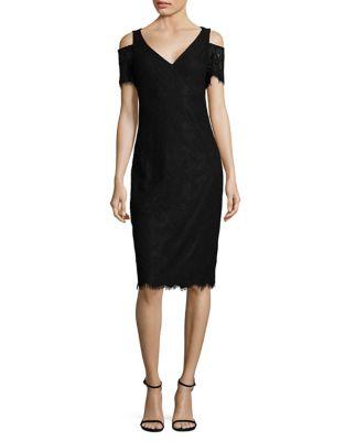 Cold-Shoulder Lace Sheath Dress by Calvin Klein