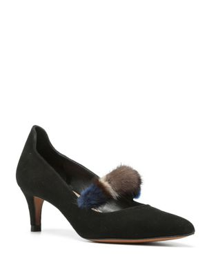 Blake Mink Fur-Trim Pumps by Donald J Pliner