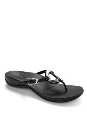 Karina Leather Thong Slides by Vionic