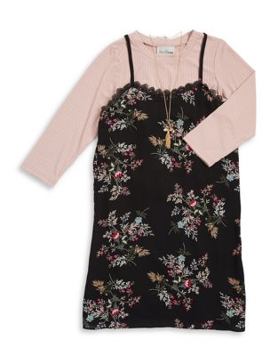Girls TwoPiece LongSleeve Top and Floral Dress Set