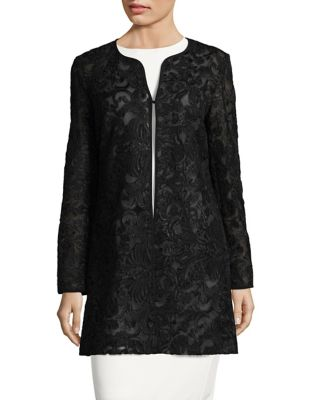 Long Sleeve Mesh Topper Coat by Karl Lagerfeld Paris