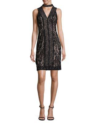 Lace Choker Sheath Dress by Karl Lagerfeld Paris