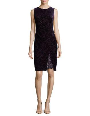Velvet Detail Sheath Dress by Adrianna Papell