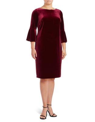Plus Velvet Bell Sleeve Knee-Length Dress by Calvin Klein