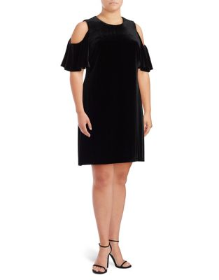 Plus Velvet Cold Shoulder Knee-Length Dress by Calvin Klein