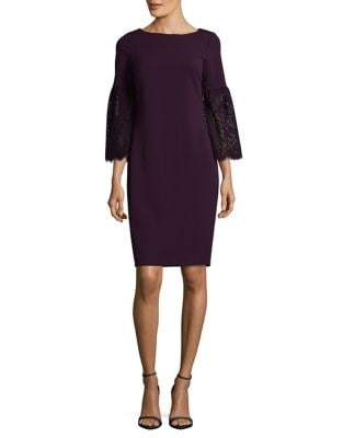 Lace Bell Sleeves Sheath Dress by Calvin Klein