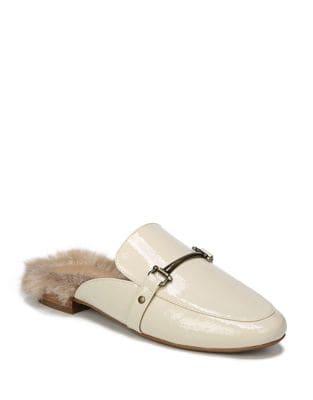 Dalton Faux Fur-Trimmed Patent Leather Mule 500087587274