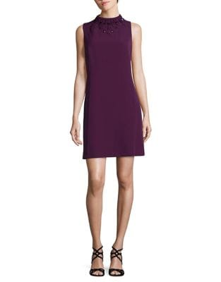 Jeweled Crepe Shift Dress by Adrianna Papell