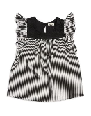 Girl's Striped Cap-Sleeve...