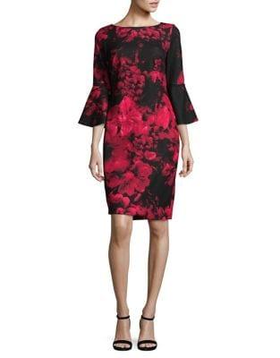 Floral Bell-Sleeve Sheath Dress by Calvin Klein