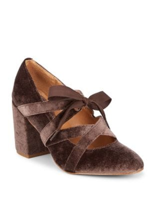 Crisscross Velvet Bow Pumps by Latigo