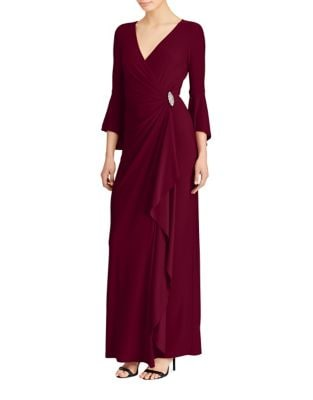 Pull-On Bell Sleeve Gown by Lauren Ralph Lauren