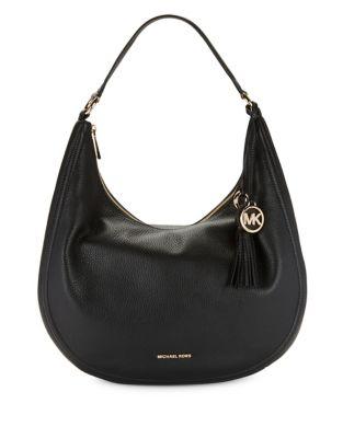 Tassel Leather Hobo Bag...