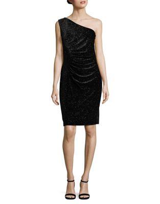 Shimmer Velvet One-Shoulder Dress by Calvin Klein