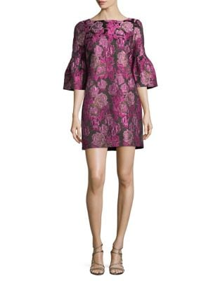 Floral Bell-Sleeve Shift Dress by Belle Badgley Mischka