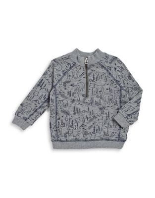 Little Boys Bear in the Forest HalfZip Pullover