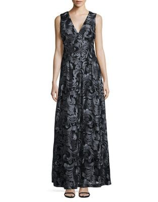 Embroidered Leaf A-Line Gown by Calvin Klein