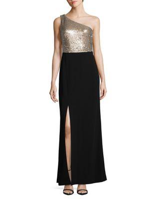 Sequin Detail One-Shoulder Dress by Calvin Klein