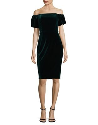 Off-the-Shoulder Velvet Sheath Dress by Betsy & Adam