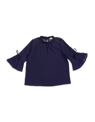 Girls Lace Tie Blouse