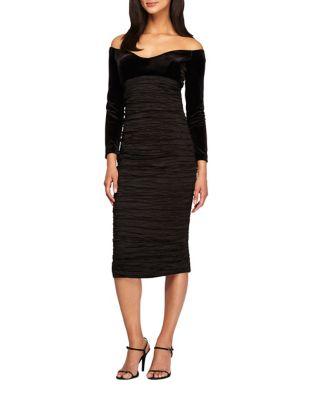 Photo of Off-The-Shoulder Velvet Sheath Dress by Alex Evenings - shop Alex Evenings dresses sales