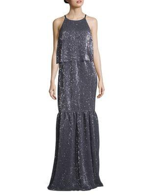 Glitter Layer Sleeveless Floor-Length Dress by H Halston