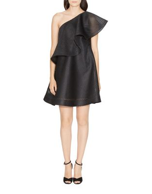 One-Shoulder Ruffled Neckline Dress by Halston Heritage
