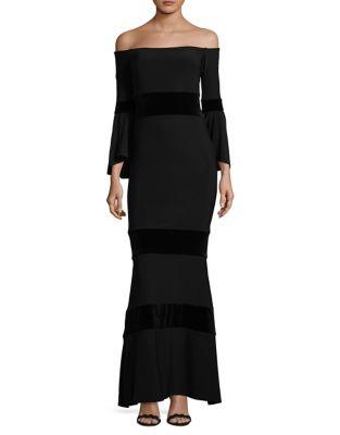 Velvet-Trim Off-The-Shoulder Dress by Xscape