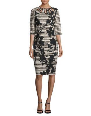 Floral Stripe Bodycon Dress by Gabby Skye