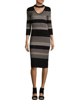 Choker Detail Stripe Bodycon Dress by Gabby Skye