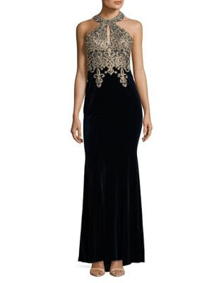 Photo of Xscape Beaded Velvet Halter Gown