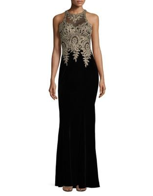 Mesh and Velvet Halter Sheath Gown by Xscape
