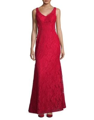 Double-V Lace Flare Gown by Xscape