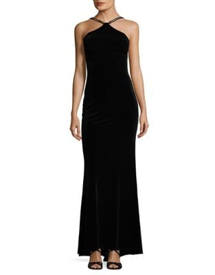 Lace-Up Velvet Ball Gown by Xscape