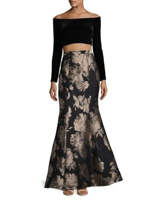 Off-Shoulder Top and Jacquard Ball Skirt Set by Xscape