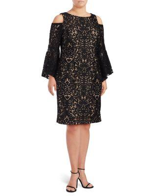 Plus Cold-Shoulder Lace Dress by Xscape