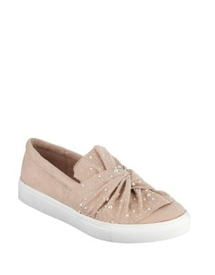 Aretha Faux Pearl Embellished Suede Sneakers by Mia