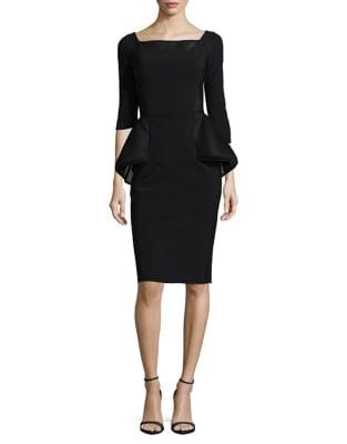 Three-Quarter Sleeve Mesh Peplum Dress by Chiara Boni La Petite Robe