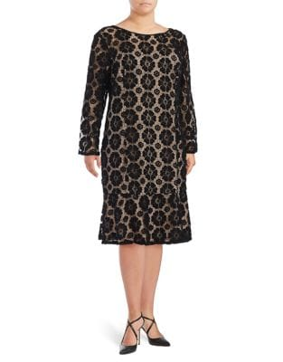 Plus Floral Lace Shift Dress by Adrianna Papell