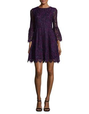 Lace Bell-Sleeve Mini Dress by Eliza J